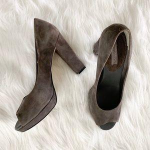 Size 9 1/2 Grey Suede Banana Republic Block Heel